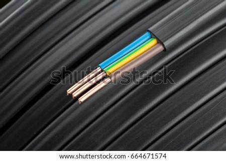Electric cables closeup #664671574