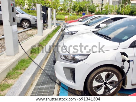 Electric car charging station in Korea  #691341304