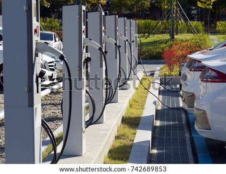 Electric car charging station in Korea  #742689853
