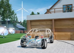 electric car chassis x-ray vehicle parked in front of garage 3d render