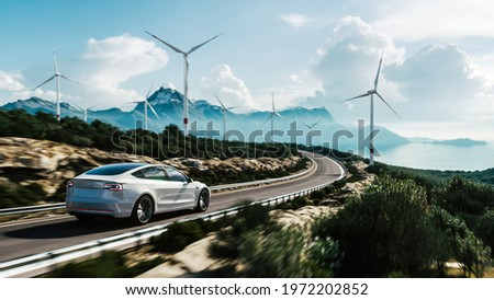 Electric car drive on the wind turbines background. Car drives along a mountain road. Electric car driving along windmills farm. Alternative energy for cars. Car and wind turbines farm. 3d render