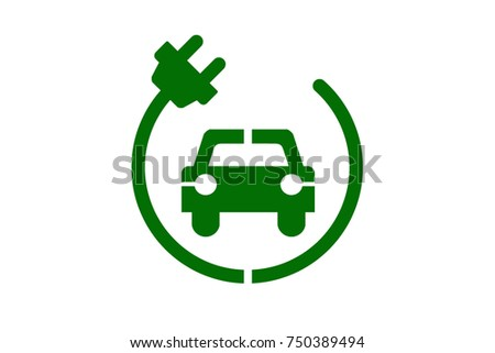 Electric car icon, green drive symbol