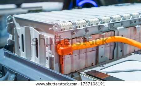 Electric car lithium battery pack and power connections ストックフォト ©