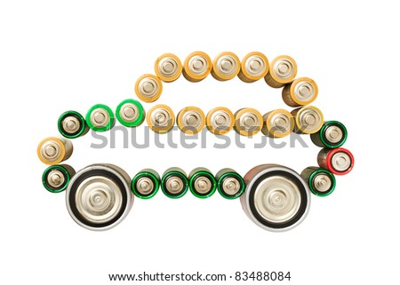 Electric car made from batteries isolated on the white background