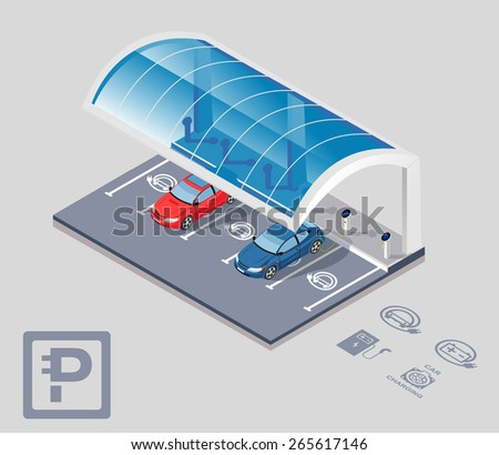 Electric car parking with roof