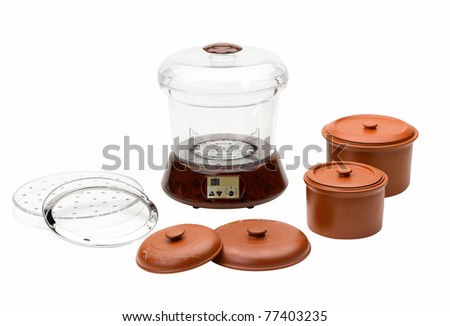 Electric casserole food pot isolated on white