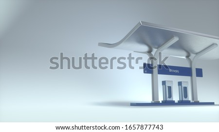 Electric charging station created in 3D, 3D illustration. Background for presentation on climate change and new sustainable technologies