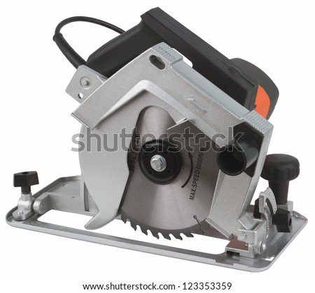 Electric circular saw.Circular saw is designed for cutting wood and plastic. Object is isolated on white background without shadows.
