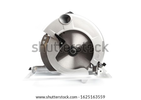 Electric circular saw.Circular saw is designed for cutting wood and plastic. Object is isolated on white background