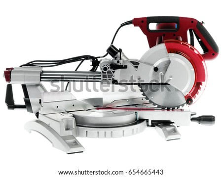 Electric circular saw.Circular saw is designed for cutting wood and plastic. Object is isolated on white background #654665443
