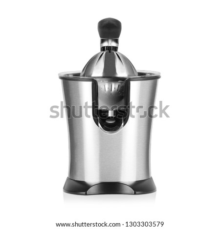 Electric Citrus Juicer Isolated on White Background. Front View of Modern Powerful Fruit and Juice Machine in Stainless Steel Housing and 800 Watt Motor. Domestic and Kitchen Appliances. Kitchen Tools #1303303579