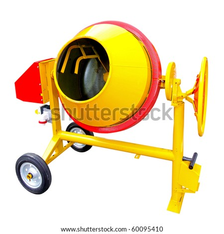 Electric concrete mixer isolated included clipping path