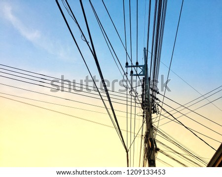 977f03ecf3c Electric concrete pole in Bangkok city of Thailand with many Cable