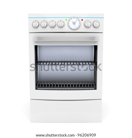 Electric cooker on white background - front view
