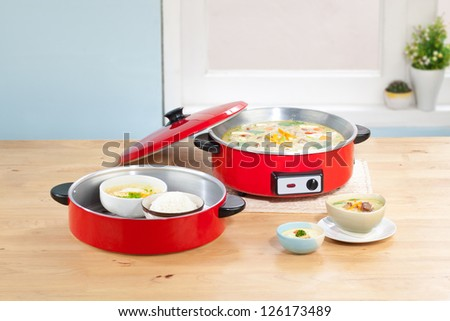 Electric cooking pot in the kitchen