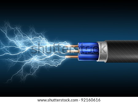 Electric cord with electricity sparks as symbol of power