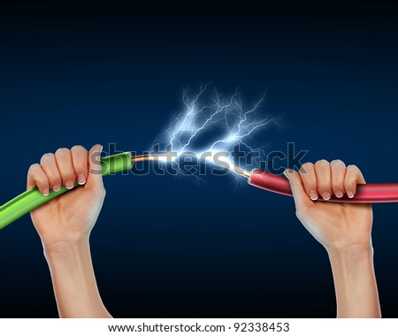 Electric cord with electricity sparks as symbol of power - stock photo