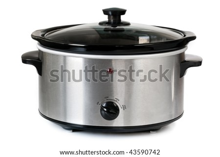 Electric crock pot or slow cooker, isolated on white.