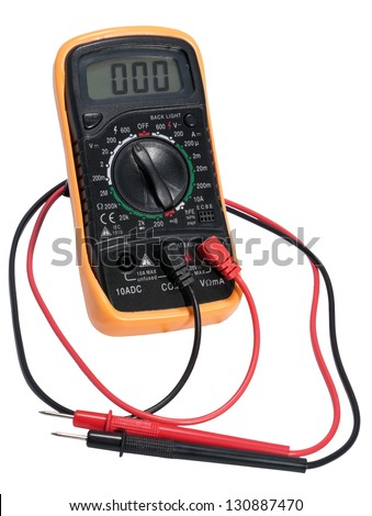 Electric digital tester. Device for measuring electric current isolated on white background.
