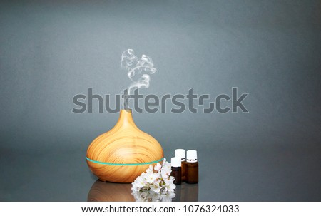 Electric Essential oils Aroma diffuser, oil bottles and flowers on gray surface with reflection.