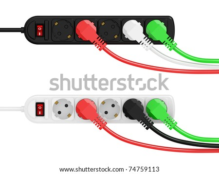 electric extension and electric plug isolated on a white background