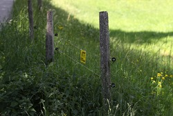 Electric fencing around lovely pasture with farm