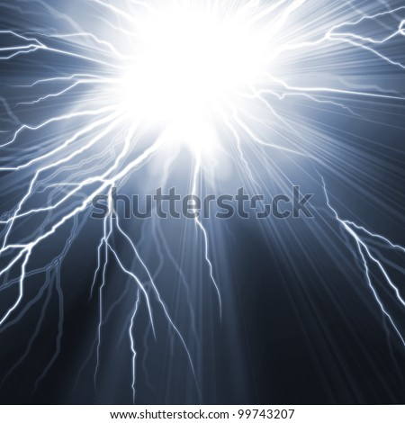 Electric flash of lightning on a dark blue background