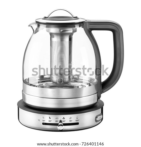 Electric Glass Kettle Isolated on White Background. Glass and Stainless Steel Tea Kettle. Domestic Appliances. Household Appliances. Kitchen Appliances #726401146