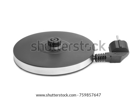 Electric Glass Kettle Isolated on White Background. Glass and Stainless Steel Tea Kettle. Domestic Appliances. Household Appliances #759857647