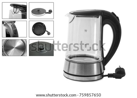 Electric Glass Kettle Isolated on White Background. Glass and Stainless Steel Tea Kettle. Domestic Appliances. Household Appliances #759857650