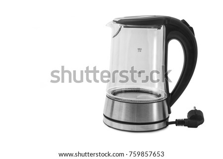 Electric Glass Kettle Isolated on White Background. Glass and Stainless Steel Tea Kettle. Domestic Appliances. Household Appliances #759857653
