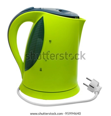 electric green tea kettle isolated on white background with clipping path