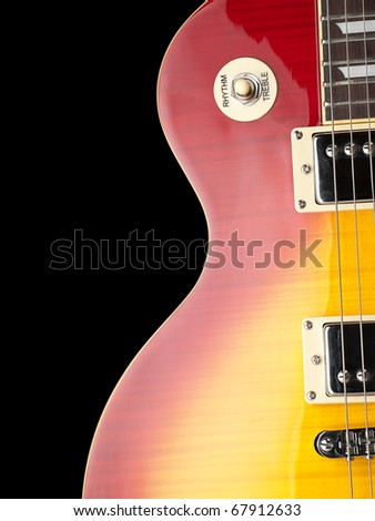 electric guitar body,closeup over black background, for music and entertainment themes