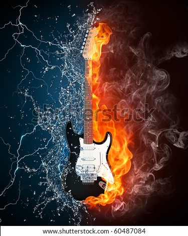 Electric guitar in fire and water. Illustration of the electric guitar enveloped in elements on black background. High resolution electric guitar image for a guitar concert poster.
