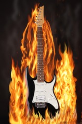 Electric Guitar in fire on Black Background.