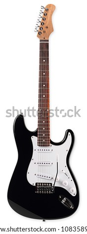 electric guitar in front of white background