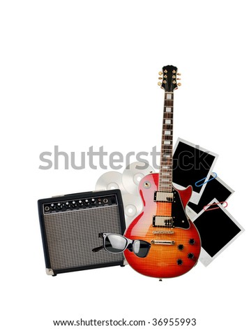 Electric guitar isolated on a white
