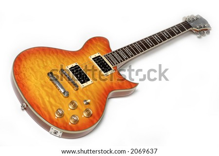 Electric guitar isolated over white. Musical instrument