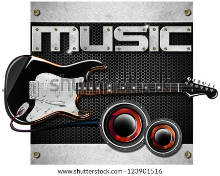 Electric Guitar Music Background / Music metal black background with hexagons, guitar and woofer