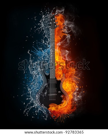 Electric Guitar on Fire and Water Isolated on Black Background. Computer Graphics.