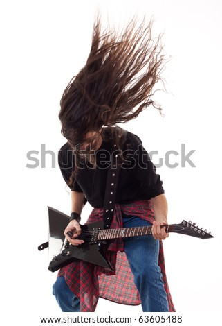 Electric guitar player on a white background playing the rock music Foto stock ©