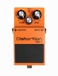 Electric guitar signal distortion orange effects foot pedal isolated on white background