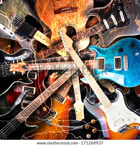 Electric guitar surrounded with the lightnings stock photo
