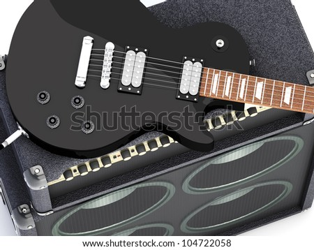 Electric guitar with amplifier. 3D render