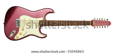 electric guitar with twelve strings and clipping path