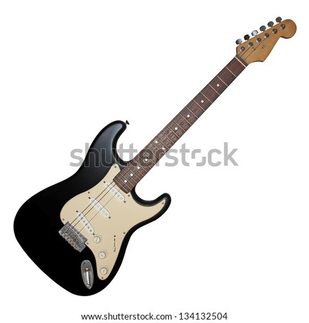 Electric guitar without three strings isolated on white background