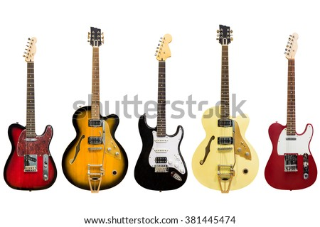 electric guitars isolated on white background - Shutterstock ID 381445474
