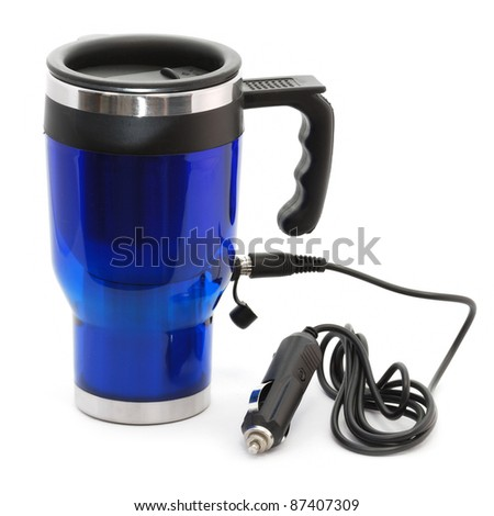 Electric heat protection-thermos coffee cup isolated on white.