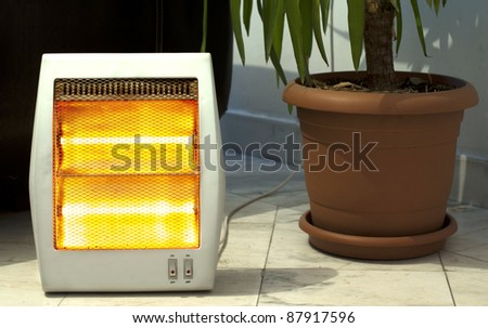 Electric heater and Pot close up
