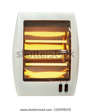 Electric heater with halogen coils. White isolated